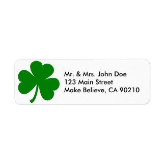 Lucky Green St Patrick's Day Shamrock Return Address Label