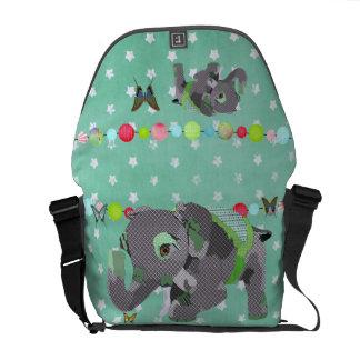 Lucky Green Star Elephant & Butterflies Messenger  Courier Bag