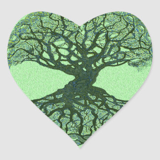 Lucky Green Tree of Life Heart Sticker