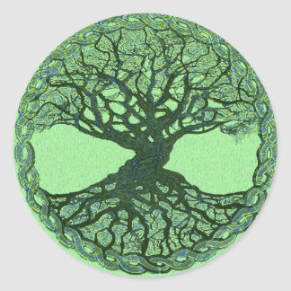 Lucky Green Tree of Life Round Sticker