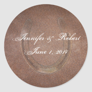 Lucky Horseshoe on Brown Leather Envelope Seal Round Sticker