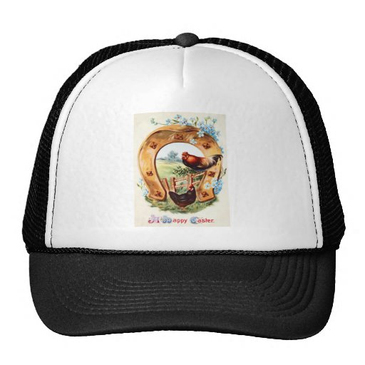 Lucky Horseshoe Rooster Forget Me Not Hat