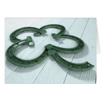 Lucky Horseshoe Shamrock Card