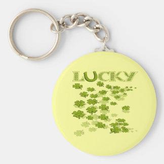 Lucky HorseShoe Shamrocks Basic Round Button Key Ring