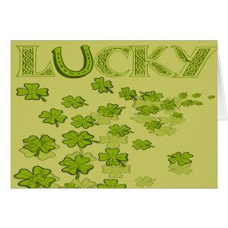 Lucky HorseShoe Shamrocks Card