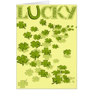 Lucky HorseShoe Shamrocks Greeting Card