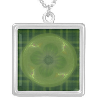 Lucky in Love Clover & Hearts Fractal Square Pendant Necklace