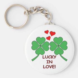Lucky In Love Hearts Clover Basic Round Button Key Ring