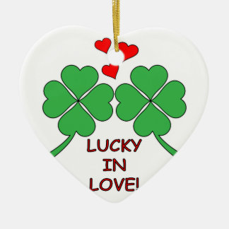 Lucky In Love Hearts Clover Ceramic Ornament