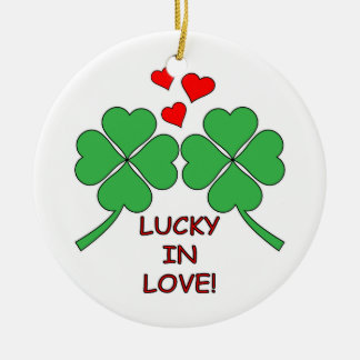 Lucky In Love Hearts Clover Ceramic Ornament