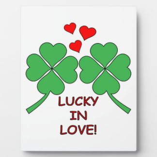 Lucky In Love Hearts Clover Display Plaque