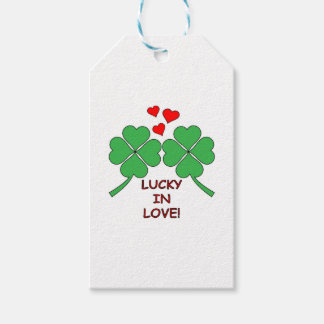 Lucky In Love Hearts Clover Gift Tags