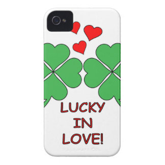 Lucky In Love Hearts Clover iPhone 4 Case-Mate Cases