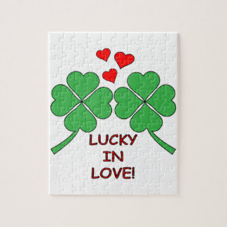 Lucky In Love Hearts Clover Jigsaw Puzzle