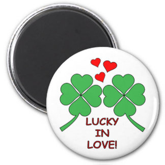 Lucky In Love Hearts Clover Magnet