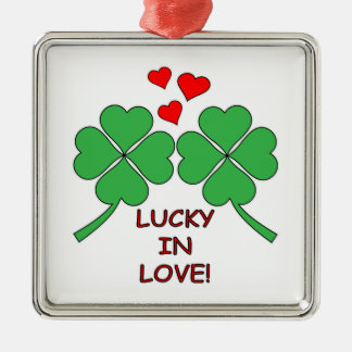 Lucky In Love Hearts Clover Metal Ornament