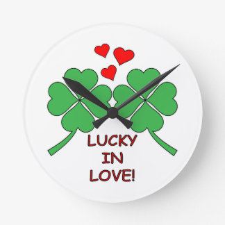 Lucky In Love Hearts Clover Round Clock
