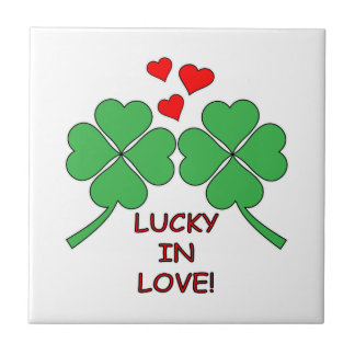 Lucky In Love Hearts Clover Tile