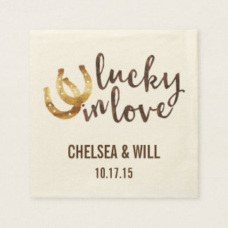 Lucky in Love Horseshoe Personalized Paper Napkin