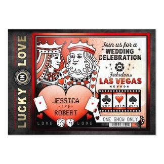 Lucky in Love Las Vegas Red Black Wedding Invite