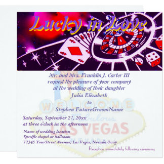 Lucky in Love Las Vegas Wedding Card