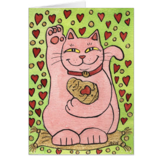 Lucky in Love: Pink Neko with Hearts Card