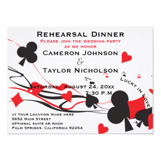 Lucky in Love Playing Cards Rehearsal Dinner red