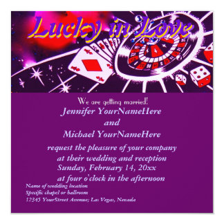 Lucky in Love Purple Casino Theme Card