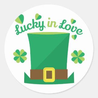 Lucky In Love Round Sticker
