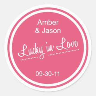 Lucky in Love Round Sticker - Watermelon