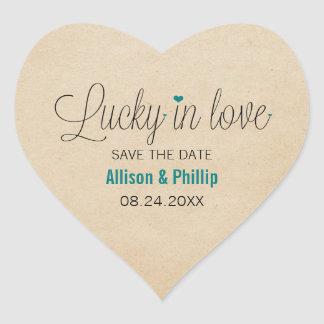 Lucky in Love Save the Date Stickers, Teal Heart Sticker