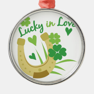 Lucky In Love Silver-Colored Round Decoration