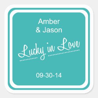 Lucky in Love Square Sticker - Aqua
