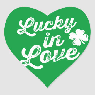 Lucky In Love St. Paddy's Day Heart Sticker