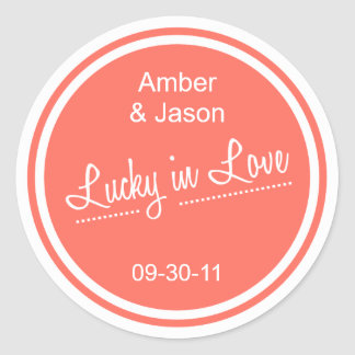 Lucky in Love Sticker - Coral