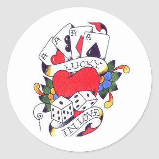 LUCKY IN LOVE TATTOO CLASSIC ROUND STICKER