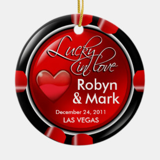 Lucky in Love Vegas Newlyweds Casino Chip Ceramic Ornament