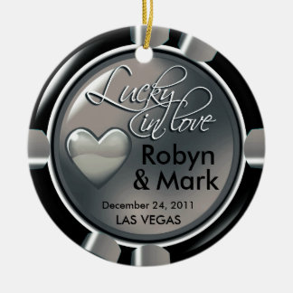 Lucky in Love Vegas Newlyweds Casino Chip Round Ceramic Decoration