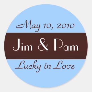 """Lucky in Love"" Wedding Sticker"