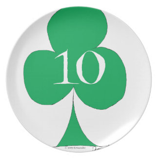 Lucky Irish 10 of Clubs, tony fernandes Dinner Plates