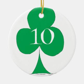 Lucky Irish 10 of Clubs, tony fernandes Round Ceramic Decoration