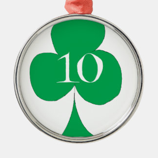 Lucky Irish 10 of Clubs, tony fernandes Silver-Colored Round Decoration