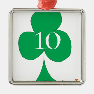 Lucky Irish 10 of Clubs, tony fernandes Silver-Colored Square Decoration