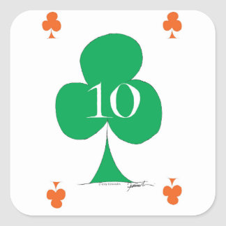 Lucky Irish 10 of Clubs, tony fernandes Square Sticker