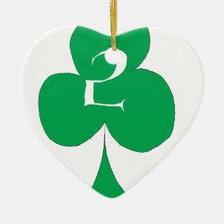 Lucky Irish 2 of Clubs, tony fernandes Ceramic Heart Decoration