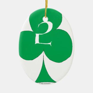 Lucky Irish 2 of Clubs, tony fernandes Ceramic Oval Decoration