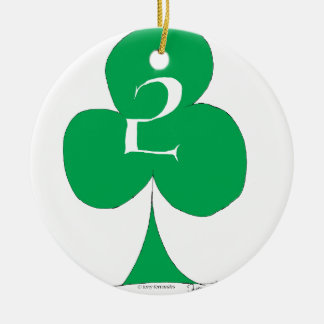 Lucky Irish 2 of Clubs, tony fernandes Round Ceramic Decoration
