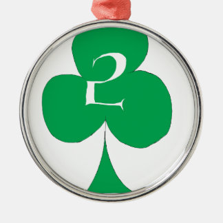 Lucky Irish 2 of Clubs, tony fernandes Silver-Colored Round Decoration