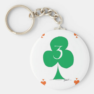 Lucky Irish 3 of Clubs, tony fernandes Basic Round Button Key Ring