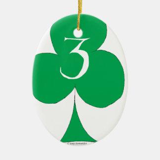 Lucky Irish 3 of Clubs, tony fernandes Ceramic Oval Decoration